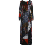 Printed Velvet Maxi Dress Mehrfarbig