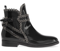 Eyelet-embellished Glossed-leather Ankle Boots