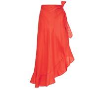Asymmetric Ruffle-trimmed Linen Wrap Skirt
