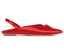 Bead-embellished Satin Slingback Point-toe Flats Red