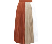 Paneled Pleated Twill, Lamé And Voile Midi Skirt