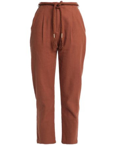 Belted Cotton-canvas Tapered Pants Brown