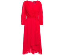 Wrap-effect Pleated Crepon Midi Dress