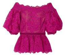 Off-the-shoulder Velvet-trimmed Corded Lace Peplum Top