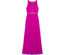 Tulle-trimmed Pleated Silk-georgette Gown Fuchsia