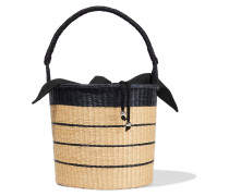 Woman Two-tone Striped Woven Toquilla Straw Bucket Bag Beige
