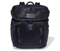 Leather-trimmed Shell Backpack Rauchblau