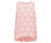 Pleated Floral-print Crepe Top