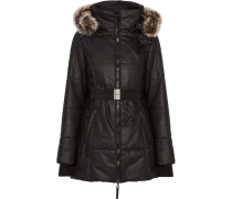 Kim Faux Fur-trimmed Coated-cotton Hooded Coat Schwarz