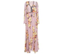 Ruffle-trimmed Floral-print Jacquard And Silk Crepe De Chine Maxi Dress