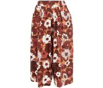 Culottes aus Baumwollpopeline mit Floralem Print und Falten
