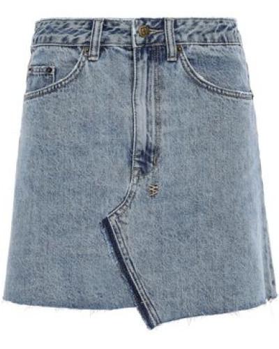 Distressed Denim Mini Skirt Mid Denim  5