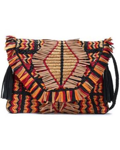 Tasseled Raffia And Leather Shoulder Bag Sand Size --