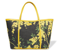 Printed Leather-trimmed Woven Tote Mehrfarbig