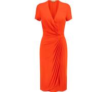 Aura Wrap-effect Stretch-jersey Mini Dress Knallorange