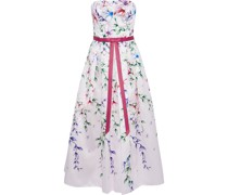 Strapless Bow-embellished Floral-print Satin-piqué Gown