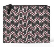 Printed textured-leather clutch