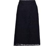 Cotton-blend Guipure Lace Skirt Mitternachtsblau