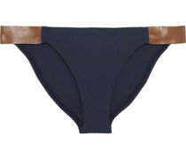 Leather-trimmed low-rise bikini briefs
