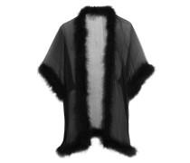 Feather-trimmed Silk-chiffon Robe Schwarz