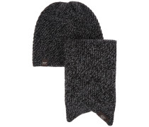 Bias Knitted Hat And Scarf Set Schwarz