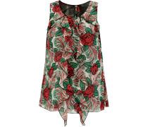 Rosa Mexicana Ruffled Floral-print Silk-chiffon Blouse Mehrfarbig