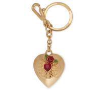 Gold-tone, Crystal And Enamel Keychain