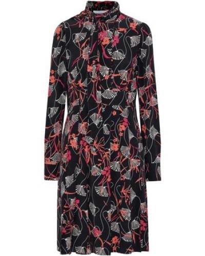 Tie-neck Pleated Floral-print Silk-crepe Dress Black