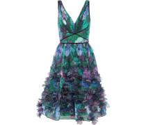 Appliquéd Pleated Floral-print Organza Dress Emerald