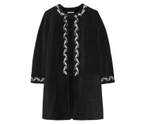 + Alexa Chung The Walker Embroidered Suede Coat Schwarz