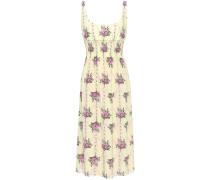 Giovanna Shirred Floral-print Silk Crepe De Chine Midi Dress