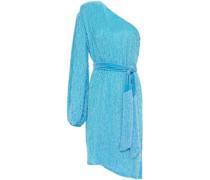 One-shoulder Velvet-trimmed Sequined Crepe De Chine Dress
