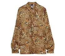 Hemd aus Glänzendem Crêpe mit Leopardenprint