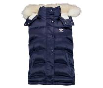 Satin-shell Faux-fur Hooded Gilet Mitternachtsblau
