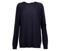 Cable knit-trimmed cashmere, wool and silk-blend sweater