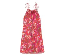 Tie-detailed Printed Hammered-satin Halterneck Mini Dress