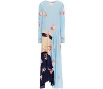 Selena Asymmetric Color-block Floral-print Crepe De Chine Midi Dress