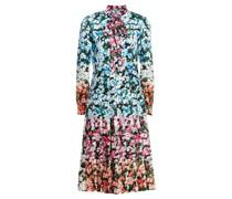 Airmail Kleid aus Glänzendem Twill mit Floralem Print und Schluppe
