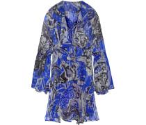 Ruffled Printed Silk-chiffon Mini Dress Blau