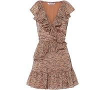 Shelly Minikleid aus Krepon mit Wickeleffekt, Rüschen und Tigerprint