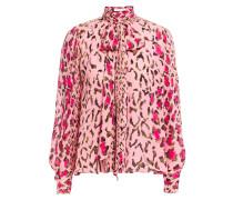 Pussy-bow Leopard-print Silk-chiffon Blouse
