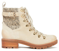 Tenlee Herringbone Woven And Suede Ankle Boots