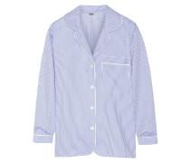 Striped Seersucker Cotton Pajama Top Himmelblau