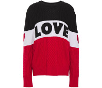 Woman Embroidered Intarsia And Cable-knit Sweater Tomato Red