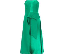 Draped satin and crepe de chine dress