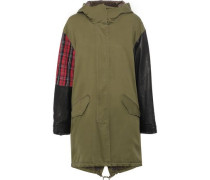 The Harper Leather And Checked Jacquard-paneled Cotton-blend Twill Hooded Parka Army Green