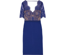 Naomi Grosgrain-trimmed Lace And Ponte Dress