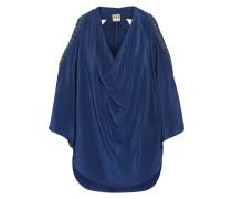 Converitble Embellished Silk Top Rauchblau