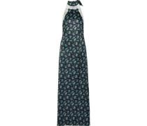 Lace-trimmed floral-print satin halterneck maxi dress