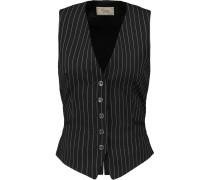 Nico Striped Wool Vest Schwarz